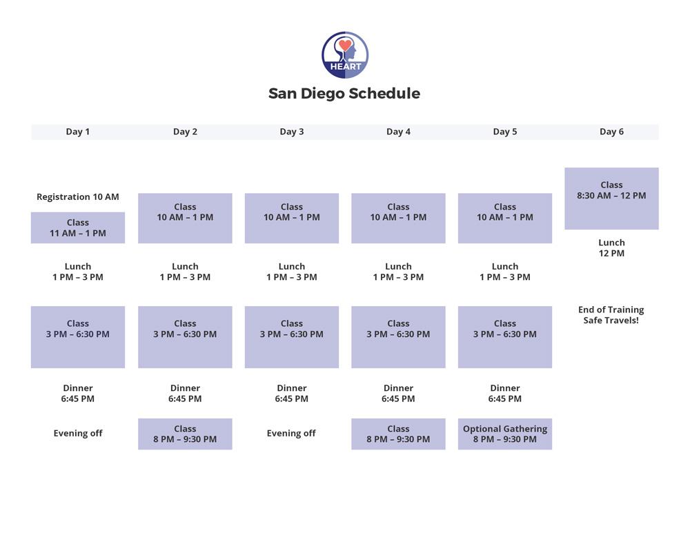 Schedule San Diego HEARTraining